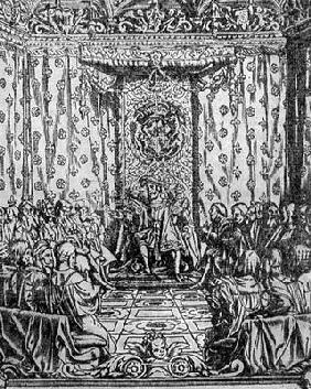 King Henry VIII (1491-1547) in Parliament, from a contemporary print (engraving)