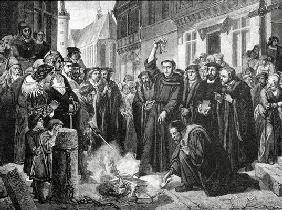 Martin Luther (1483-1546) Publicly Burning the Pope's Bull in 1521 (engraving)