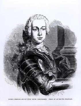 Portrait of Prince Charles Edward Stuart (1720-88) The Young Pretender (engraving) (b/w photo)