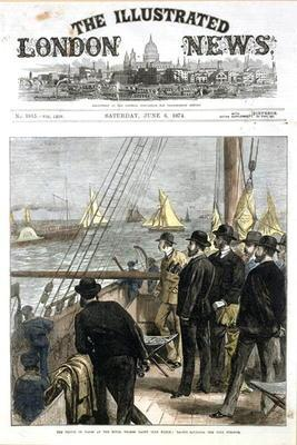 The Prince of Wales at the Royal Thames Yacht Club match, yachts rounding the club steamer, front co