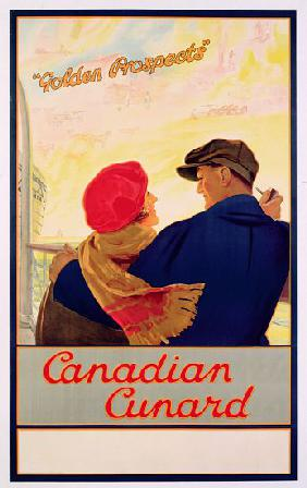 Poster advertising 'Cunard' routes to Canada