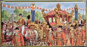 Jigsaw puzzle depicting the Coronation of Queen Elizabeth II (b.1926) 2nd June 1953 (colour litho on