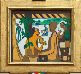 Brown Figures in a Café