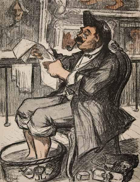 A government official reading his newspaper with a footbath, illustration from ''L''assiette au Beur