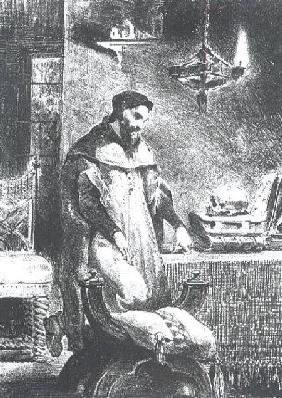 Faust in his Study, from Goethe's Faust, 1828, (illustration)