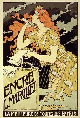 Reproduction of a poster advertising 'Marquet Ink'