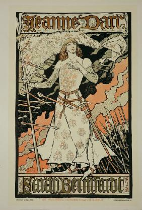 Reproduction of a poster advertising 'Joan of Arc', starring Sarah Bernhardt at the Renaissance Thea