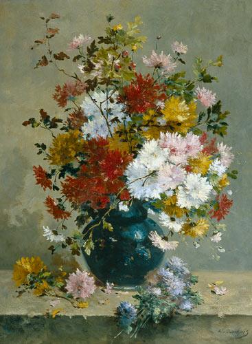 Bouquet De Fleurs Detail Peinture Huile Sur Toile De Eugene Henri Cauchois En Reproduction Imprimee Ou Copie Peinte A L Huile Sur Toile
