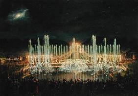 Illuminated Fountain Display in the Bassin de Neptune in Honour of Prince Francisco de Assisi de Bou
