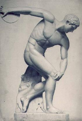 Discus thrower, drawing of a classical sculpture
