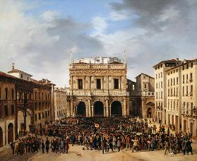 The People of Brescia gathered in the Piazza della Loggia 23rd March 1849