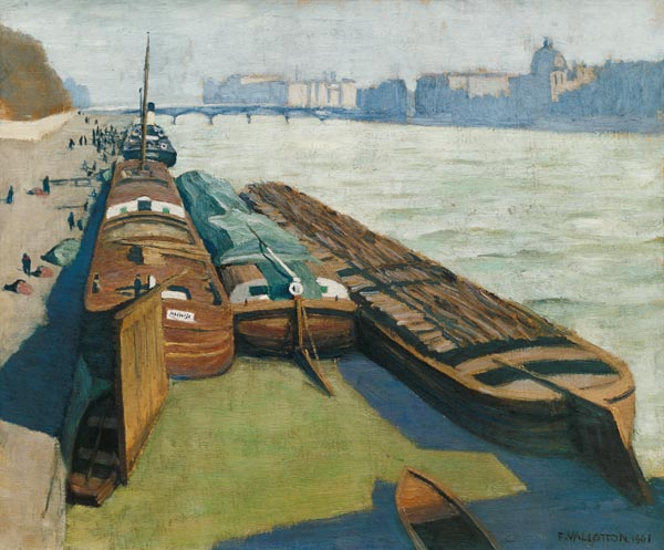 Felix Vallotton - Page 2 Barges-on-the-Seine-Bank