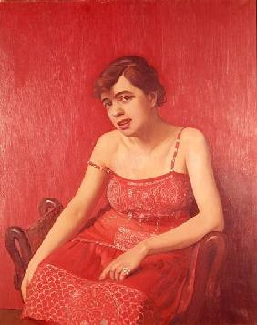 Romanian Woman in a Red Dress