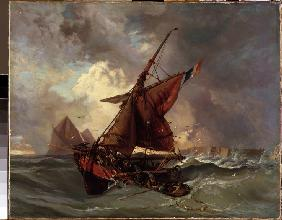Ships at stormy sea