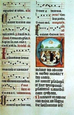 Ms Add 15426 f.86 Concert of the Five Orders (Musical Clerics in a Garden)