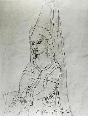 Charlotte de Savoie (c.1442-83) wife of Louis XI (1422-83) from the''Recueil d''Arras''