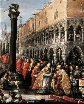 Pope Alexander III, at the head of a procession, presents a sword to a notable Venetian