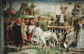 The Triumph of Minerva: March, from the Room of the Months, detail of the chariot and the group of s