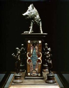 Statue of a wild boar on a pedestal of pietre dure with four allegorical figures