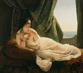 F. Hayez, Odalisque allongee