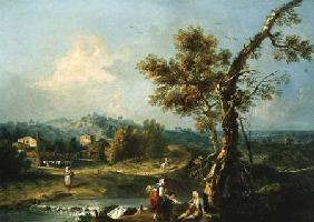 An Italianate River Landscape with Travellers