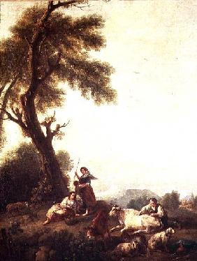 Landscape with Peasants Watching a Herd of Cattle