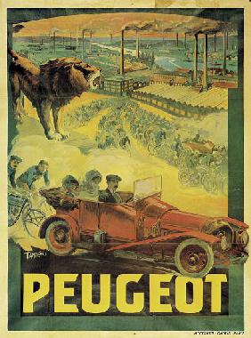 Poster advertising Peugeot cars