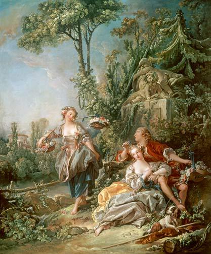 Lovers in a park fran ois boucher for Boucher peintre