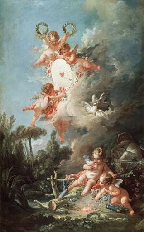 Boucher, Fran�ois : Cupid's Target, from 'Les ...