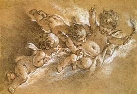 Boucher, Fran�ois : Three putti in clouds