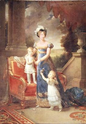 Marie-Caroline de Bourbon (1798-1870) with her Children in Front of the Chateau de Rosny