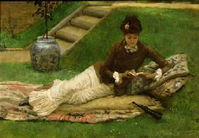 The Novel, A Lady in a Garden reading a book