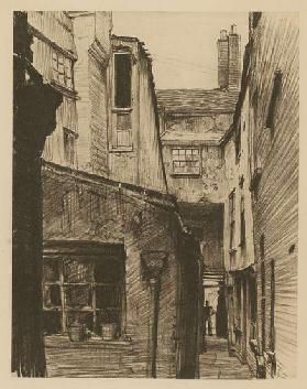 The Old Horse and Groom, back of Holborn Above Bars, London (etching)