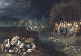 Still life of shells with the Feast of the Gods
