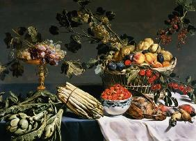 Still Life of Fruit in a Wicker Basket