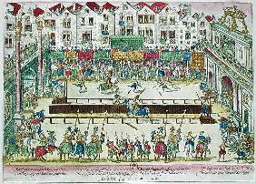 Tournament during which Henri II (1519-59) was injured the Count of Montgomery and died ten days lat