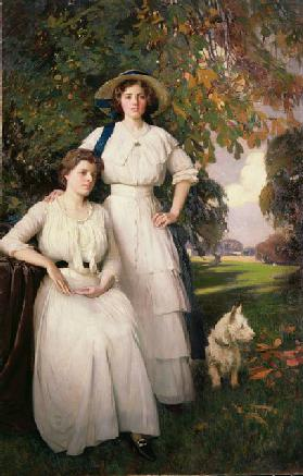 Portrait of Two Young Women in an Autumn Landscape