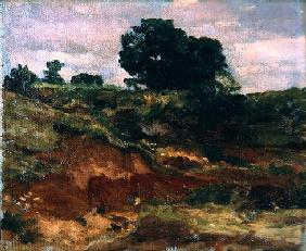 Sketch for a landscape, 'View in Bedfordshire', c.1890 (oil on canvas)
