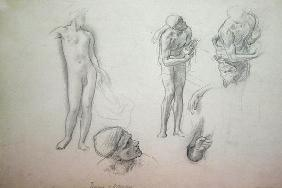 Studies for 'Daedalus and Icarus', c.1868-69 (oil on canvas)
