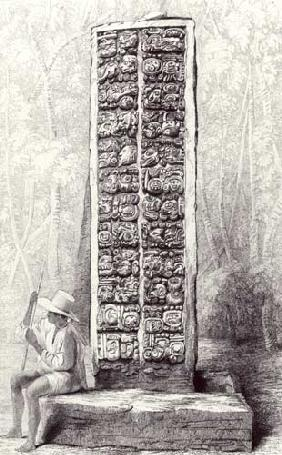 Hieroglyphs on the rear of a monument at Copan, Honduras, from volume I of 'Incidents of Travel in C
