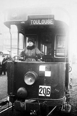 Woman driving a tram in Toulouse during World War One, 1914-18 (b/w photo)