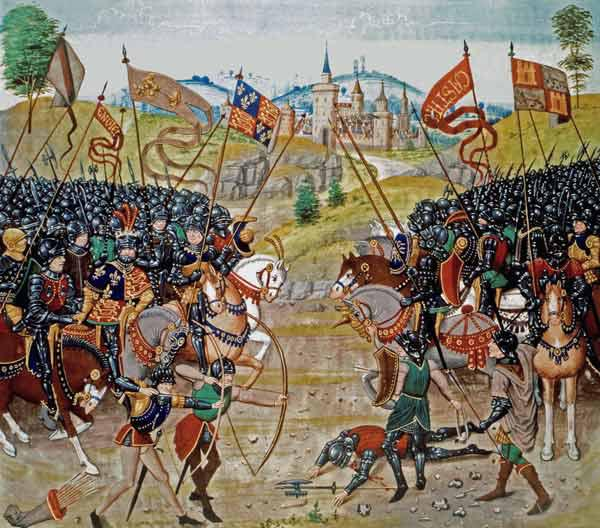 Fr 2643 f.312v Battle of Najera, 1367, from Froissart''s Chronicle