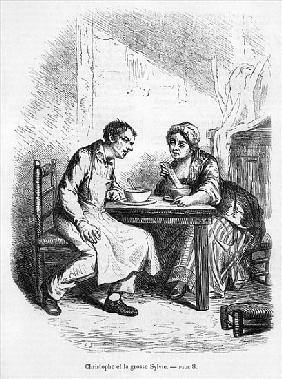 Christophe and the Fat Sylvie, illustration from ''Le Pere Goriot'' Honore de Balzac (1799-1850)