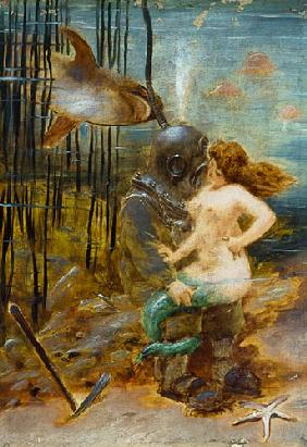 Deep Sea Diver with a Mermaid and a Shark