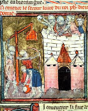 Fol.261v Siege of the Chateau de Chinon, from the Grandes Chroniques de France, 1375-79