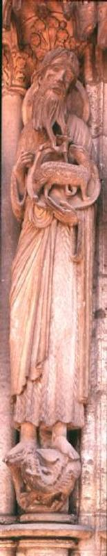 St. John the Baptist, jamb figure from the right hand side of the central door of the north portal