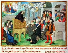 Ms.230 fol.57 Monk Preaching on Imitation, from ''Sermons sur la Passion et Traites Divers'' Jean de