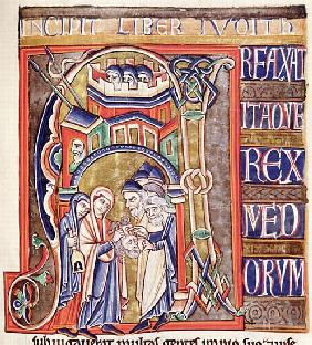 Ms 1 fol.292 Historiated initial depicting Judith with the head of Holofernes, from the Souvigny Bib