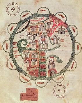 Ms 782 f.374v World map with Jerusalem in the centre, from ''Chroniques de St. Denis'', c.1275