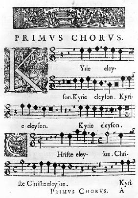 Opening page of the Mass for Double Choir Nicolas Forme, printed in Paris by Pierre Ballard in 1638